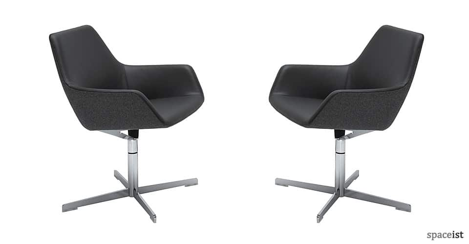 85 black leather reception chairs