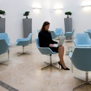 85 blue leather reception chairs