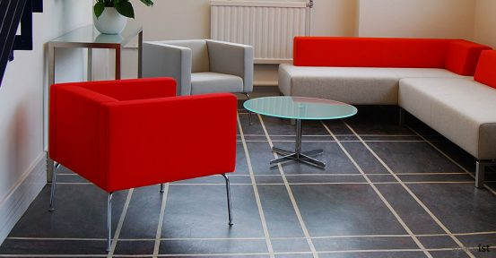 93 red and grey square reception sofas