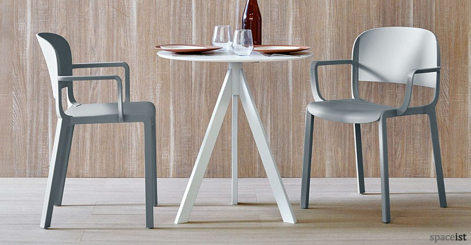 Ark round white industrial style cafe table