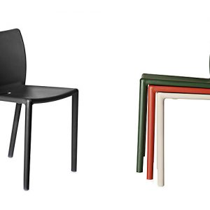 air black red and white plastic cafe chairs