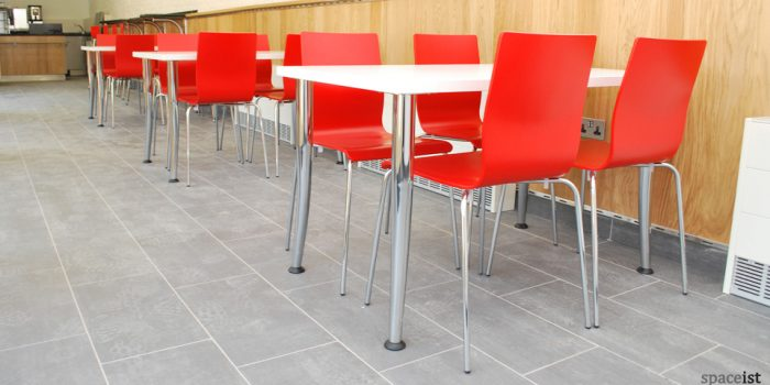 angled chrome leg white cafe tables