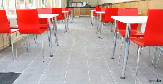 angled chrome leg white cafe tables