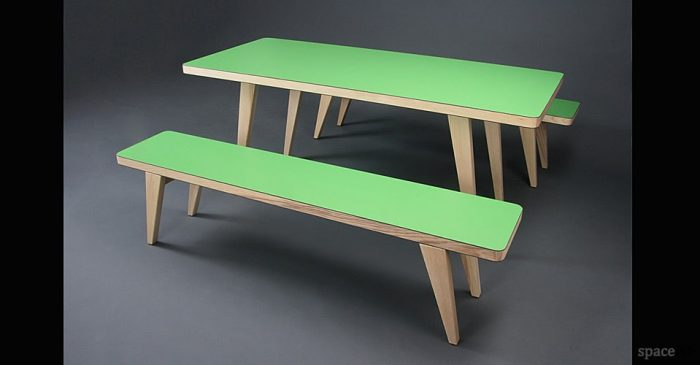 Osprey red and solid oak table and benches