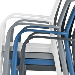 ara blue cafe chair with arms