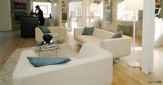 bernard white 3 seater reception sofa