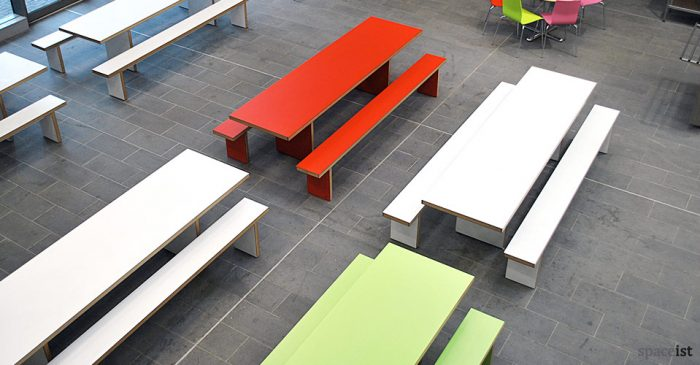 bishop ramsey colourful canteen table