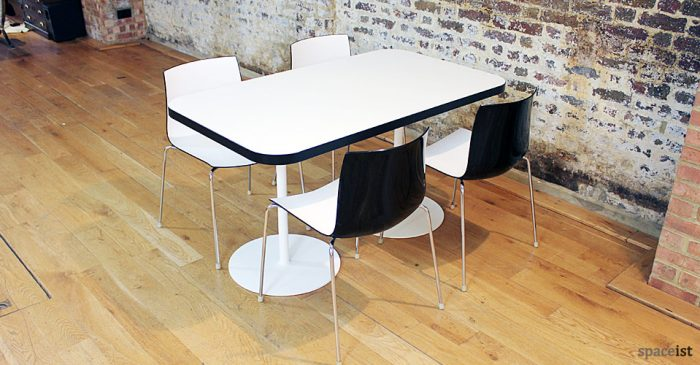 black edge rectangular cafe table