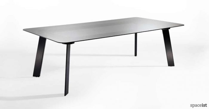 Blade black glass meeting table