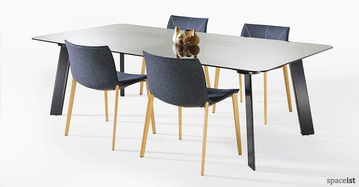 Blade black glass meeting table