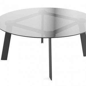Blade round glass meeting table with black legs