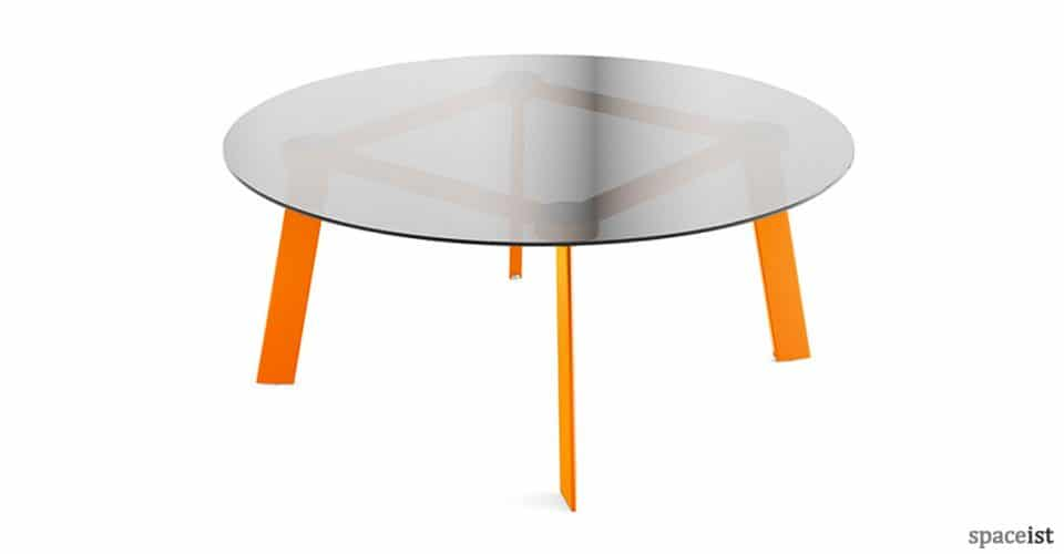 Blade round glass meeting table with orange legs