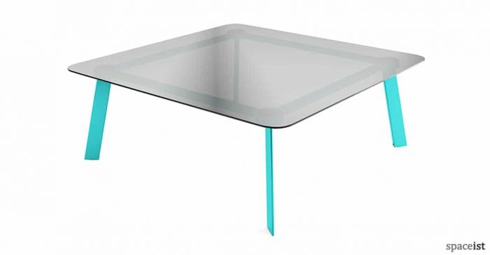 Blade square glass meeting table with blue legs