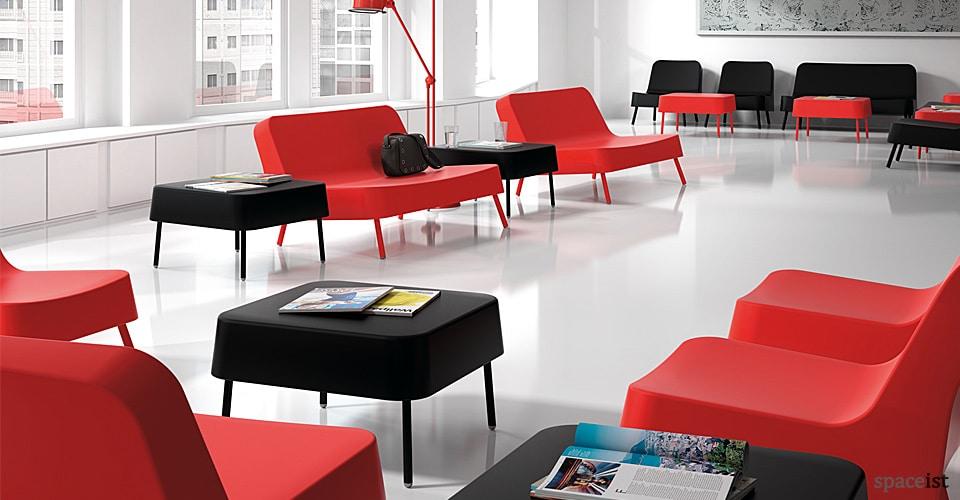 Bob plastic reception sofa in red, white and dark grey