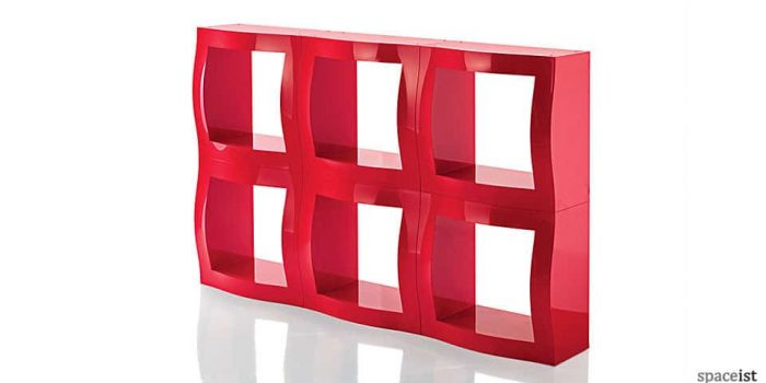 boggie red modular office storage close up