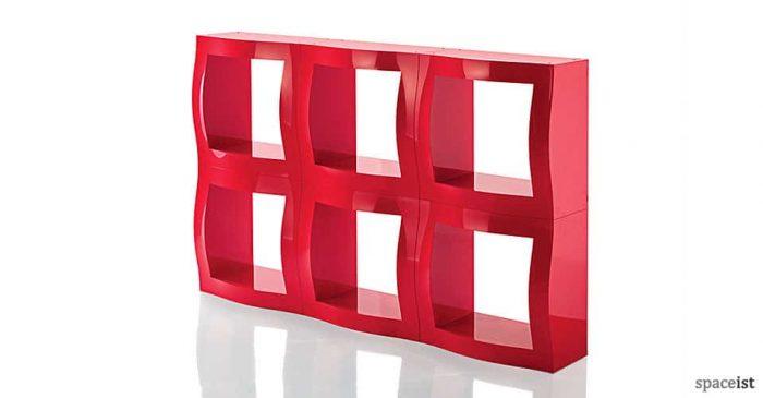 boggie red modular office storage close up