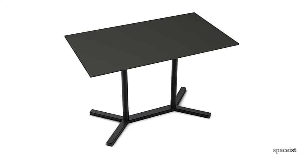 bold rectangular black cafe tables