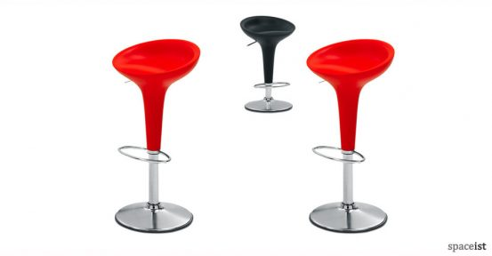 bombo red plastic bar stools