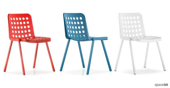 booki red blue and white designer cafe chairs