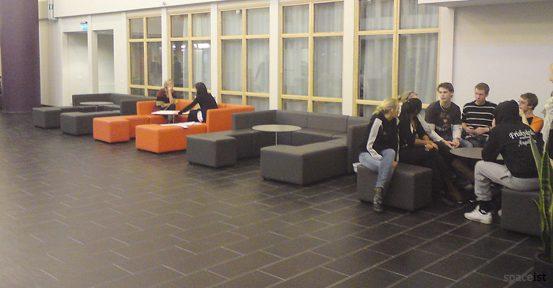orange modular cube school booth seating