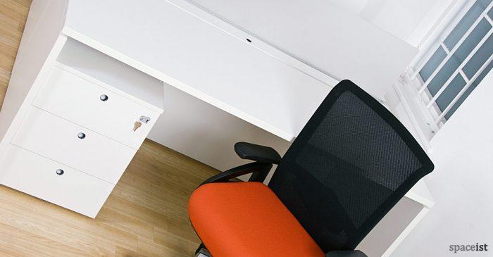 burn marketing white under desk storage