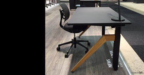 Cabale black standing desk with angled oak leg