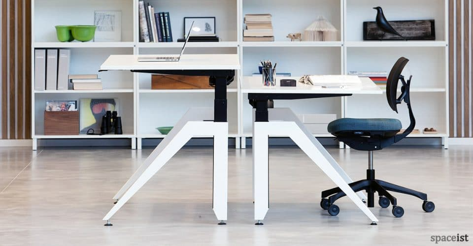 Cabale white standing desk with angled leg