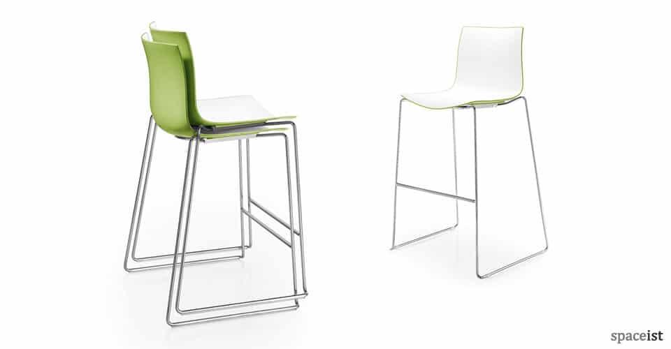 catifa green plastic bar stools with chrome leg