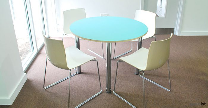 colour small round blue meeting tables