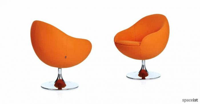 comet egg shape orange reception chairs