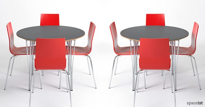 contract round dark grey canteen tables