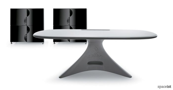 curvy white executive desk