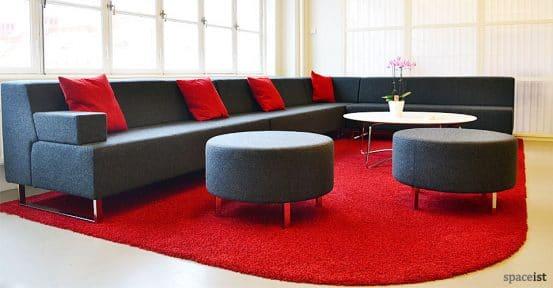 dark grey red modular corner sofas