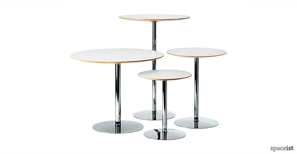 disc chrome round bar tables