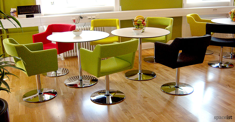 disc chrome round cafe tables 75cm dia