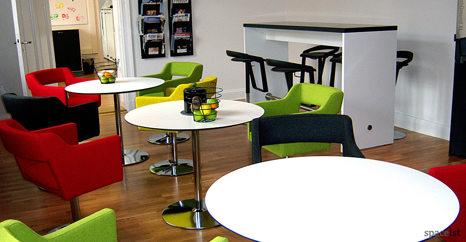 disc chrome round cafe tables 75cm dia