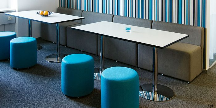 disc rectangular white cafe tables