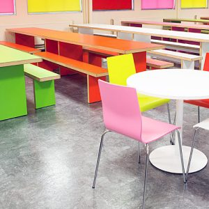 disc round white canteen tables