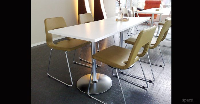 disc square modern white cafe table