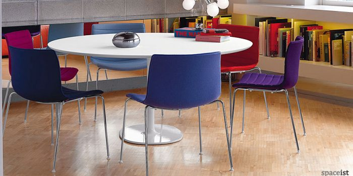 dizzie round white meeting tables