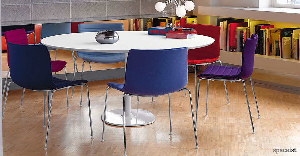 dizzie round white meeting tables