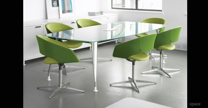 dna glass meeting table green chairs