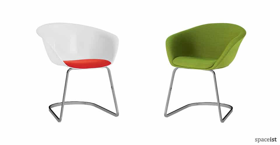 Duna cantilever white and green meeting chair