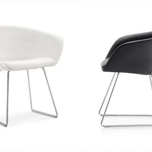 duna white black leather meeting chairs