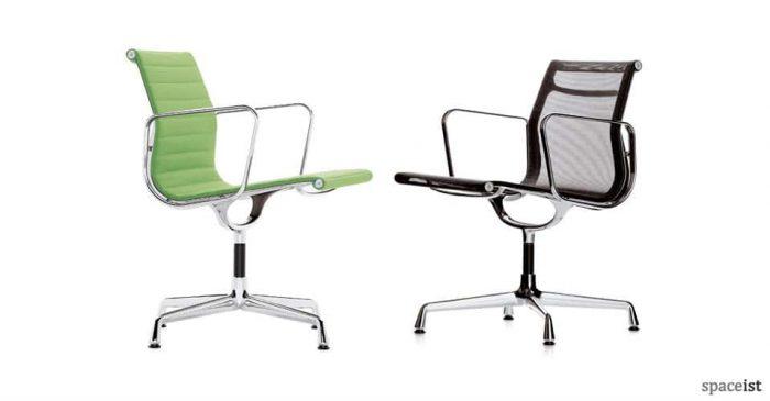 eames aluminium green black mesh chairs