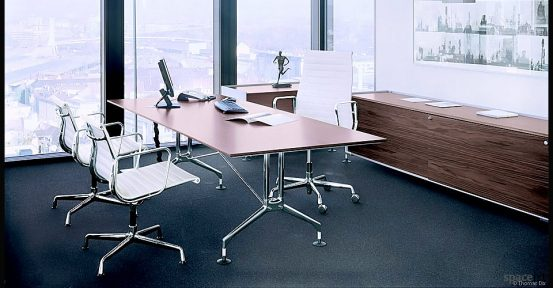 eames aluminium white leather executive chairs