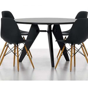 Eames Black Meeting Chair with Wood Legs