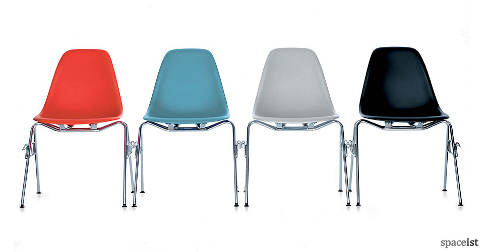 eames red blue grey and black cafe chairs