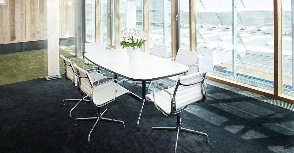 six person contract white meeting room table