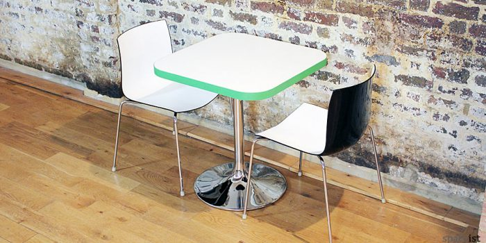 edge colourful square chrome cafe table